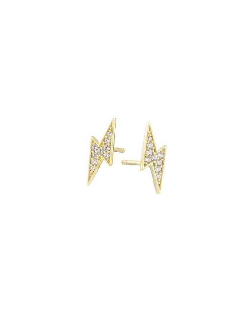 Gold Pave Flash Stud Earrings