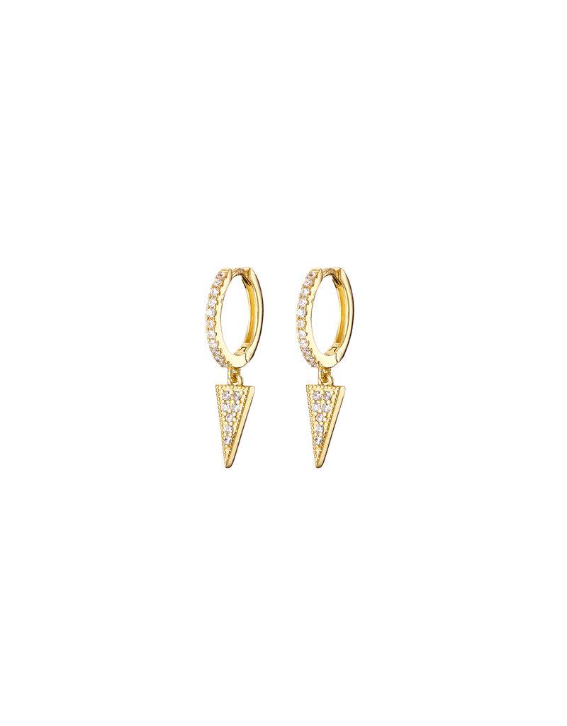 Gold Pave Spike Huggie Earrings