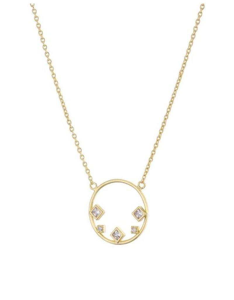 Mary k Jewellery Gold Circle 5 Stone CZ Necklace