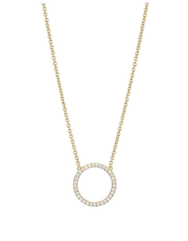 Gold Vermeil Cubic Zirconia Pave Circle Necklace