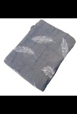 Grey Feather Bamboo Muslin Blanket