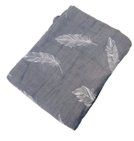 Grey Feather Bamboo Muslin Blanket