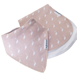 Pink Stork Dribble Bib and Burp Cloth Gift Set