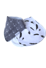 Feather And Bear Dribble Bib and Burp Cloth Gift Set