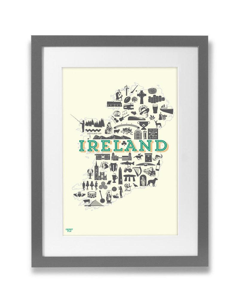 Clover Rua Ireland Icons A4 Print
