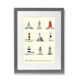 Clover Rua Irish Lighthouses A4 Print