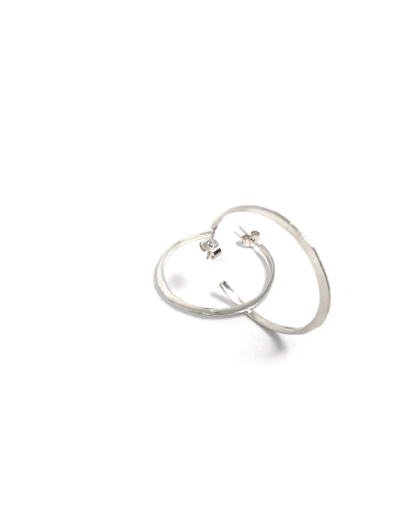 Lynsey De Burca Silver Ciorcail Large Hoop Earrings