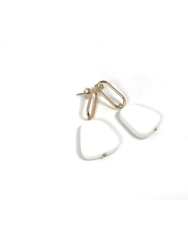 Vivien Walsh Gold Slab Earrings White