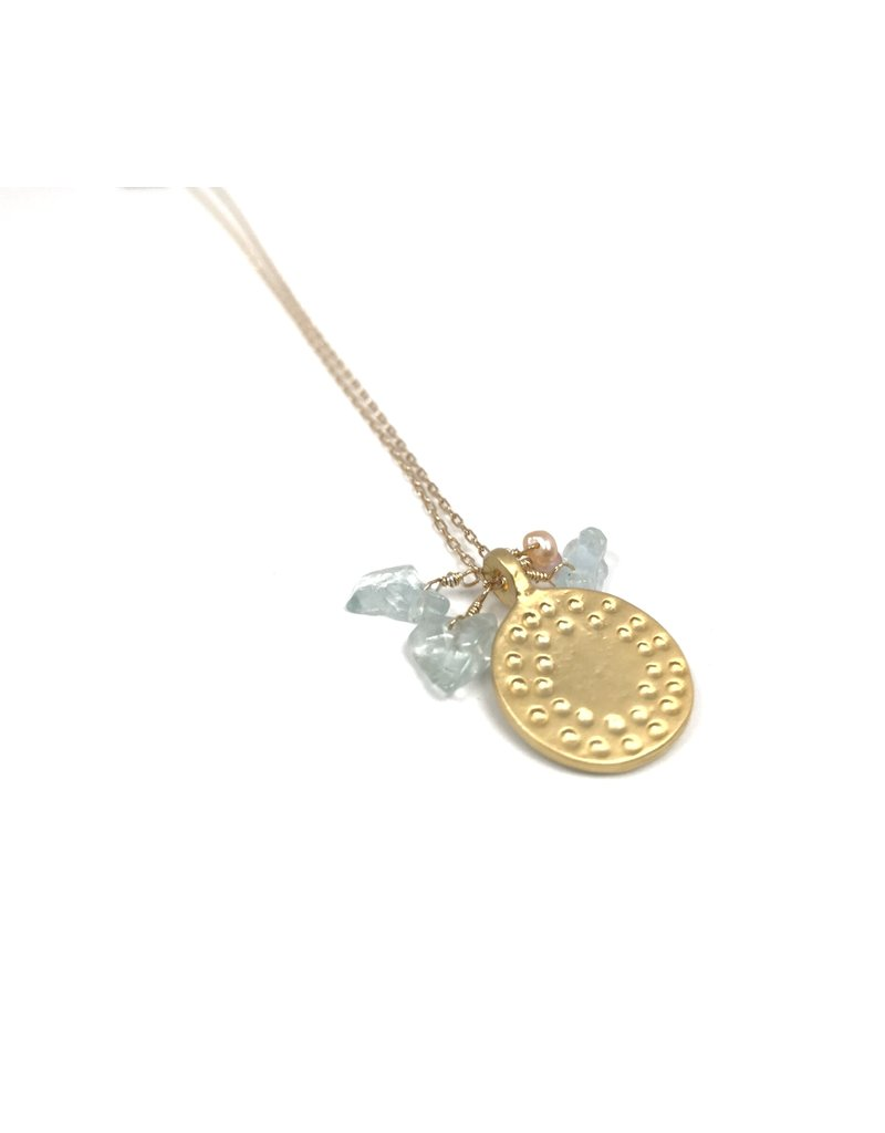 Vivien Walsh Dot Disc Necklace Aqua