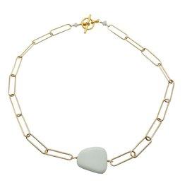 Vivien Walsh Gold Slab Necklace White