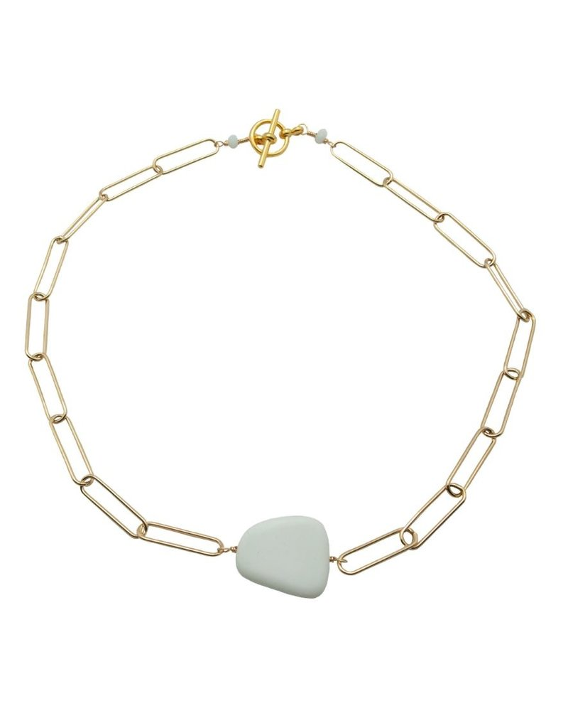 Vivien Walsh Gold Slab Necklace White