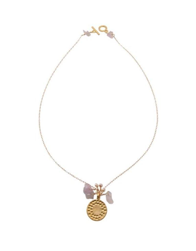 Vivien Walsh Dot Disc Necklace Rose