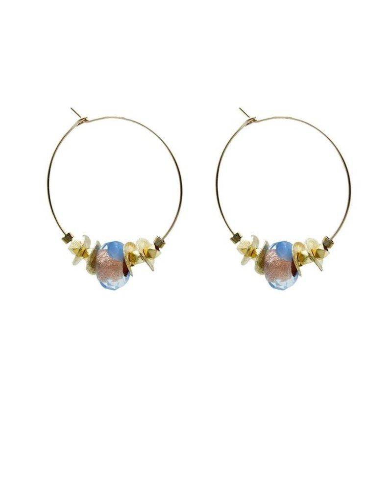 Vivien Walsh Gold Maxi Hoop Earrings Blue