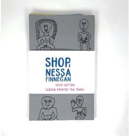 Nessa Finnegan Sheela-Na-Gig Grey Teatowel