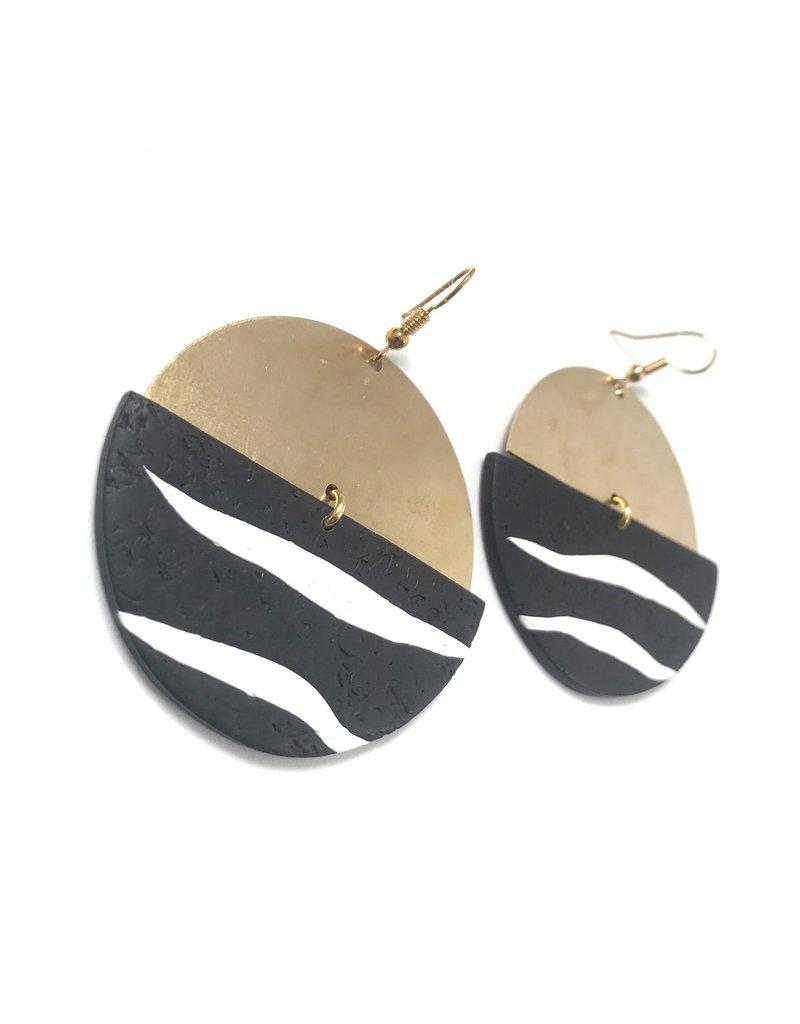 Daki Daki Design Brass Zebra Earrings