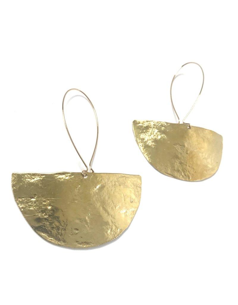 Daki Daki Design Large Halfmoon Brass Earrings
