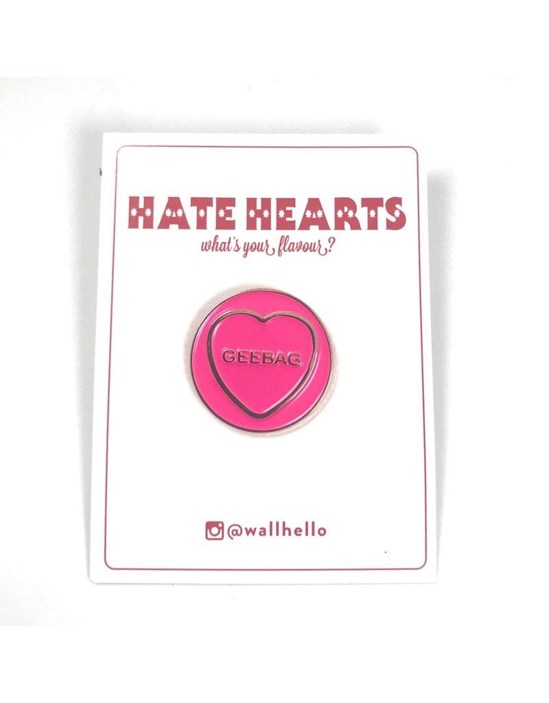 Fintan Wall Design Geebag Hate Heart Pin