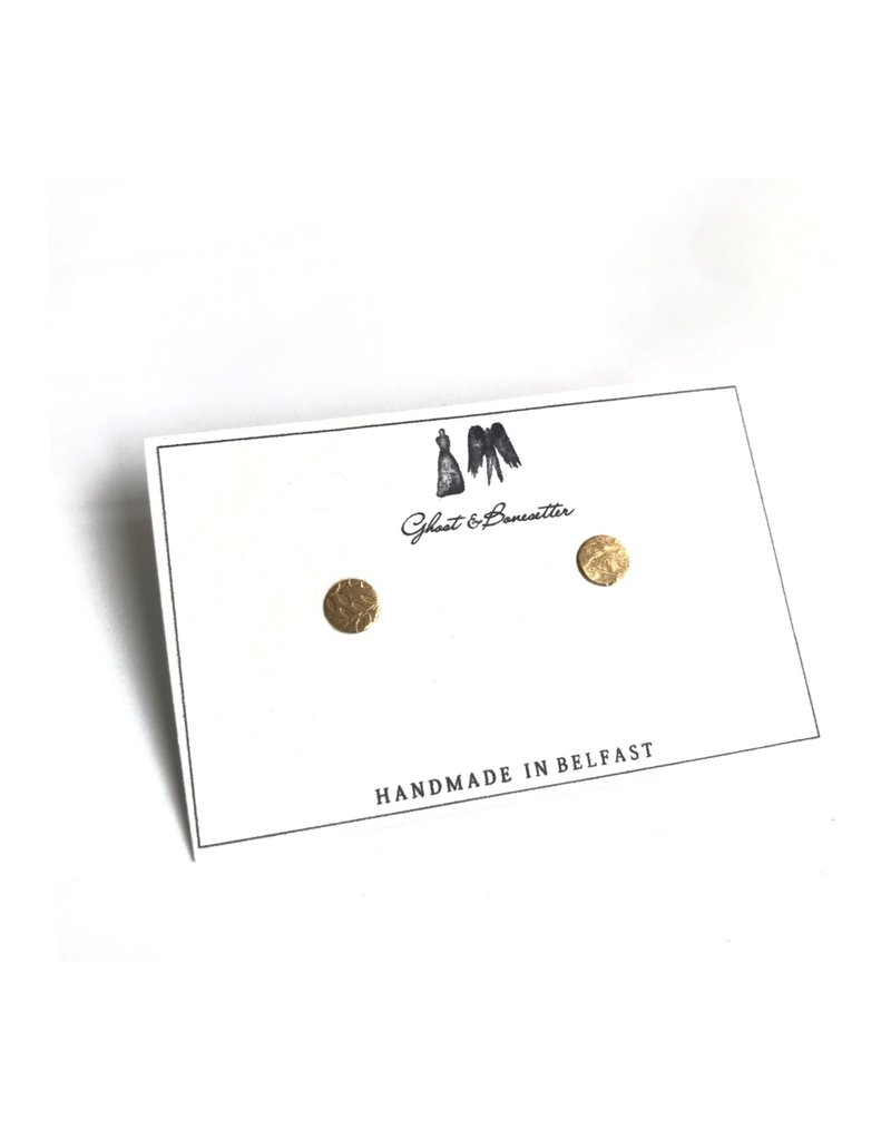 Ghost and Bonesetter Gold Plated on Silver Small Stud Earrings
