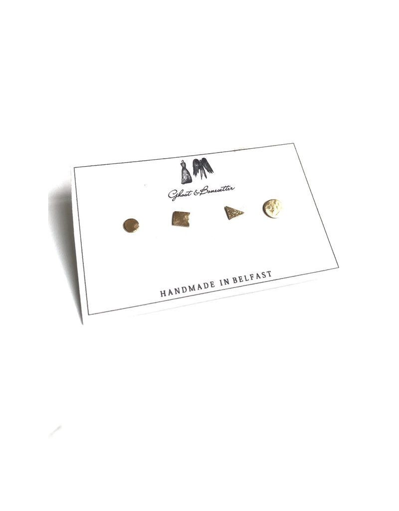 Ghost and Bonesetter Gold Plated  Small Stud 4 Set of Earrings
