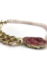 Aria V Malika Rose Druze Agate and Quartz Necklace