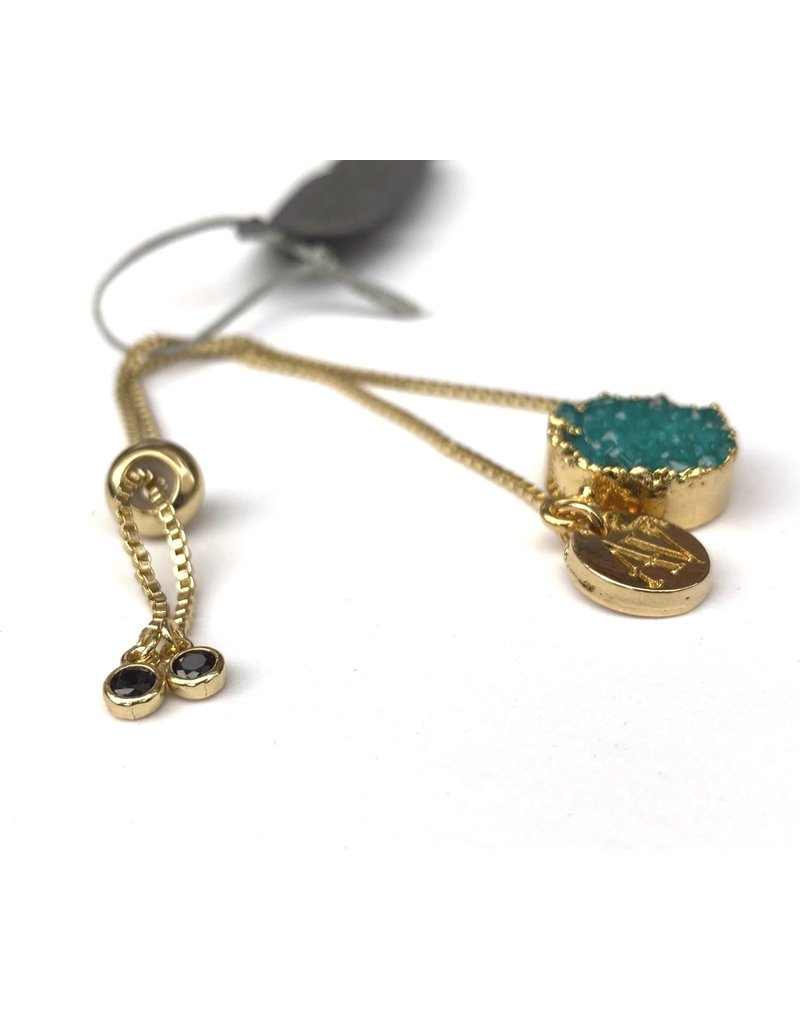 Aria V Ivy Mint Druze Bracelet with gold and onyx stones