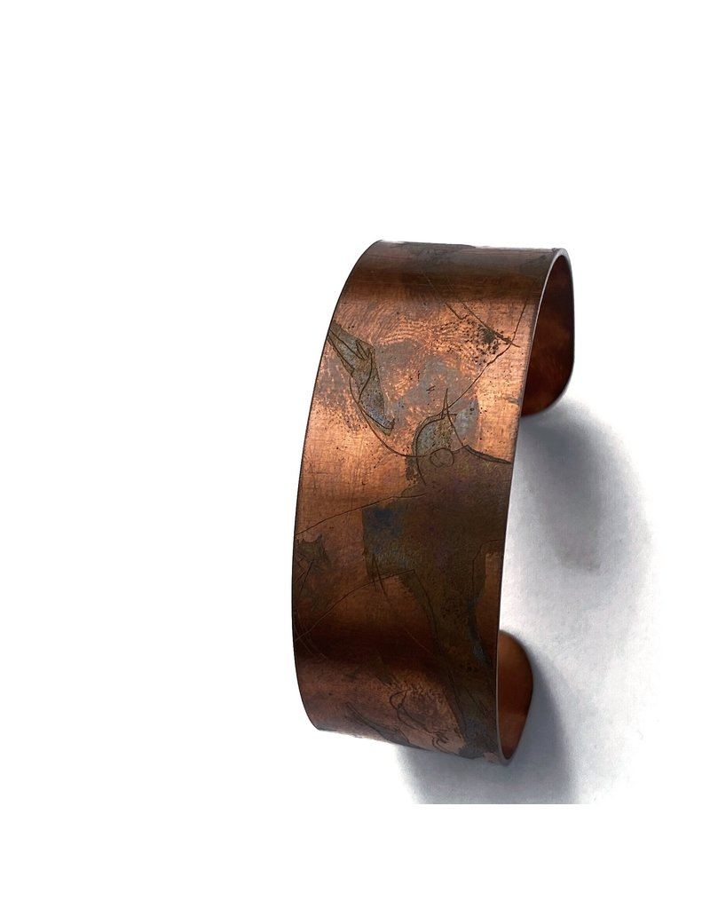 Ghost and Bonesetter Copper Cuff with Oxidised Bird Detail Narrow