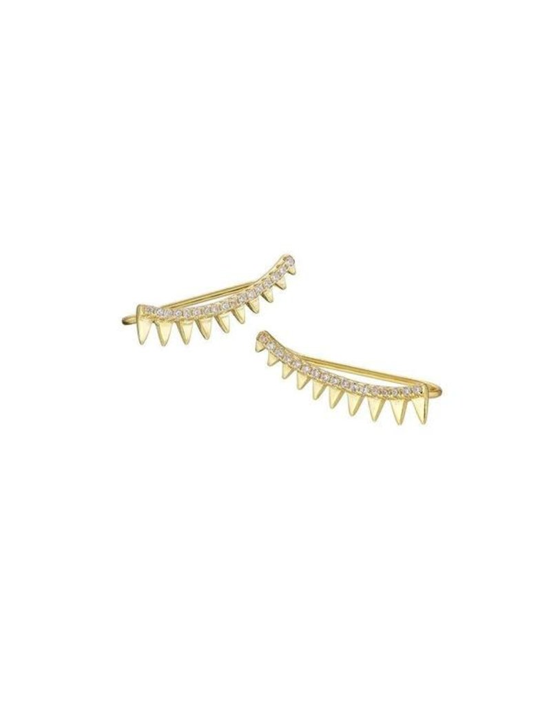 Mary k Jewellery Gold Pave Spiked Climber Earrings
