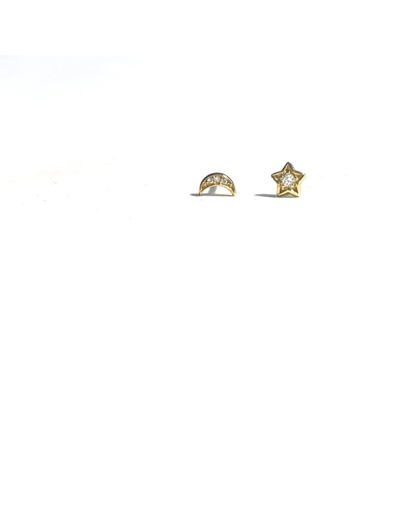 Mary k Jewellery Gold Pave Moon and Star Stud Earrings