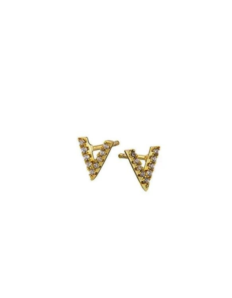 Mary k Jewellery Gold Pave V Stud Earrings