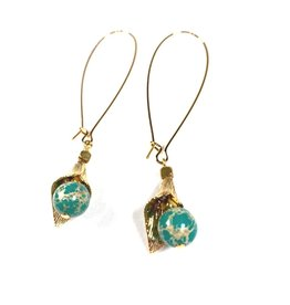 KKajoux Jewels Apache Green Petal Long Earrings