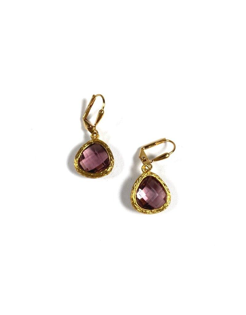 KKajoux Jewels Roman Plum Teardrop Short Earrings