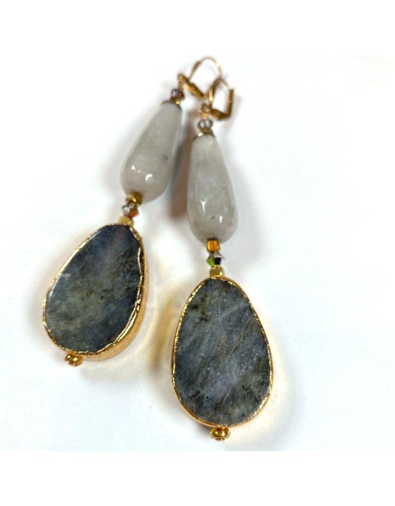 KKajoux Jewels Marquee Bullet Grey Long Earrings