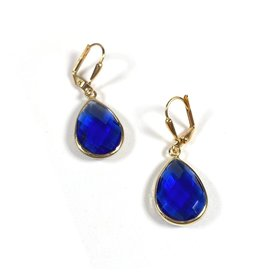 KKajoux Jewels Royal Blue Deco Teardrop Short Earrings