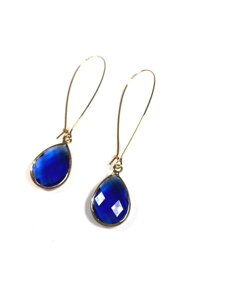 KKajoux Jewels Royal Blue Deco Teardrop Long Earrings