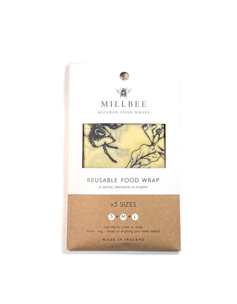 Millbee Studio Reusable Beeswax Food Wraps  Variety 3 Pack