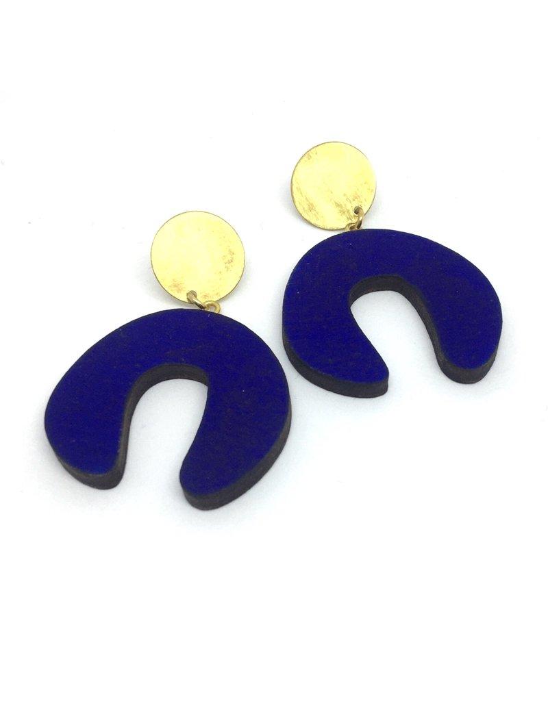 Shock Of Grey Damian's Doodle Earrings Blue