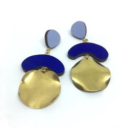 Shock Of Grey Megadrop Brass Earrings Blue