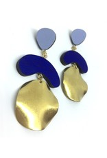 Shock Of Grey Megadrop Brass Earrings - Blue