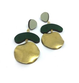 Shock Of Grey Megadrop Brass Earrings - Green
