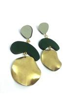 Shock Of Grey Megadrop Brass Earrings Green