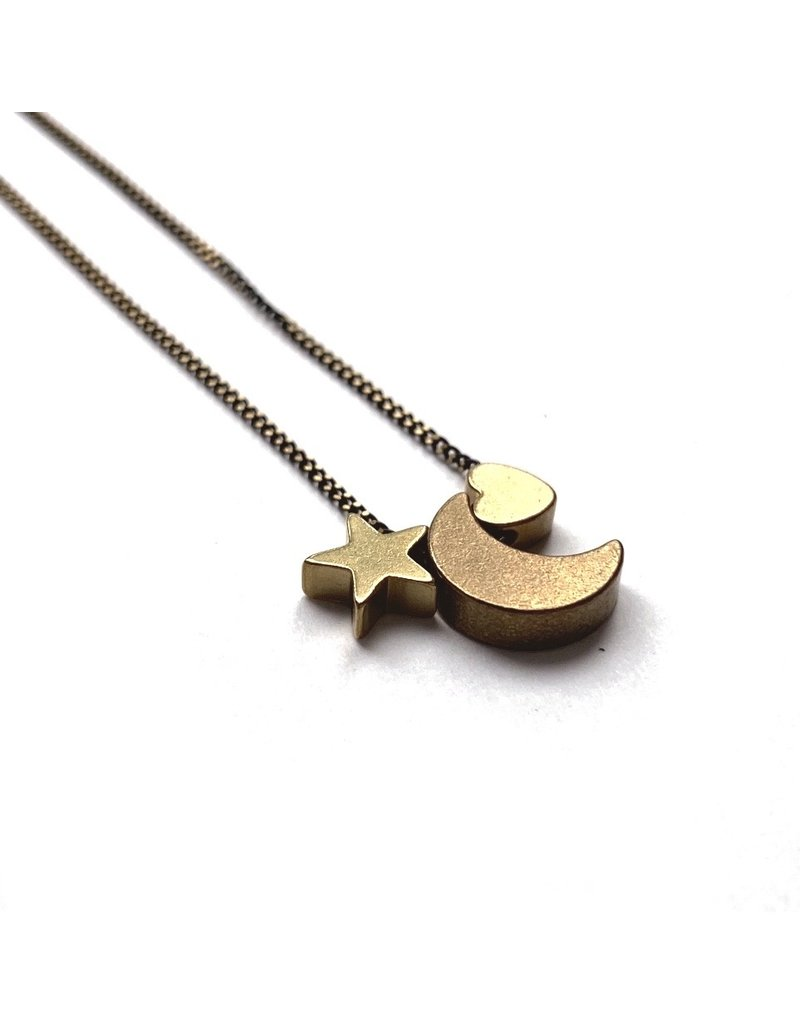 Kaiko Studio Delicate Heart, Moon and Star Necklace