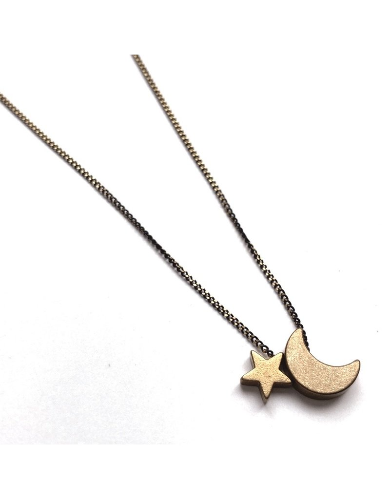 Kaiko Studio Delicate Moon and Star Necklace