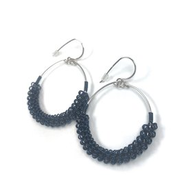 NUA Catkin Hoop Earrings - Navy and Silver