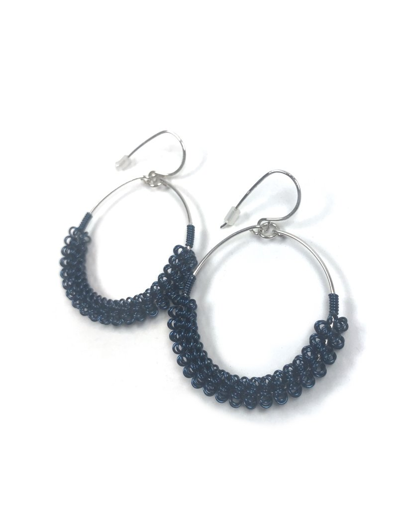 NUA Catkin Hoop Earrings - Navy and Silver