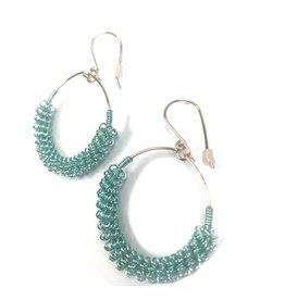 NUA Catkin Hoop Earrings - Aqua and Silver