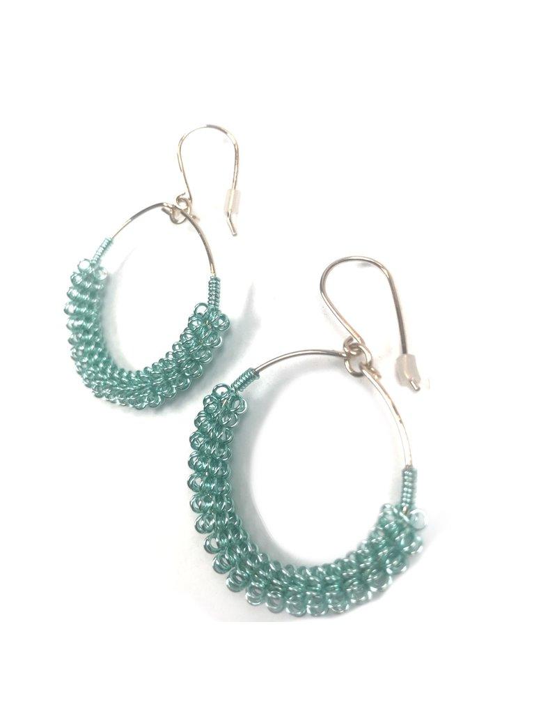NUA Catkin Hoop Earrings -  Aqua and Gold