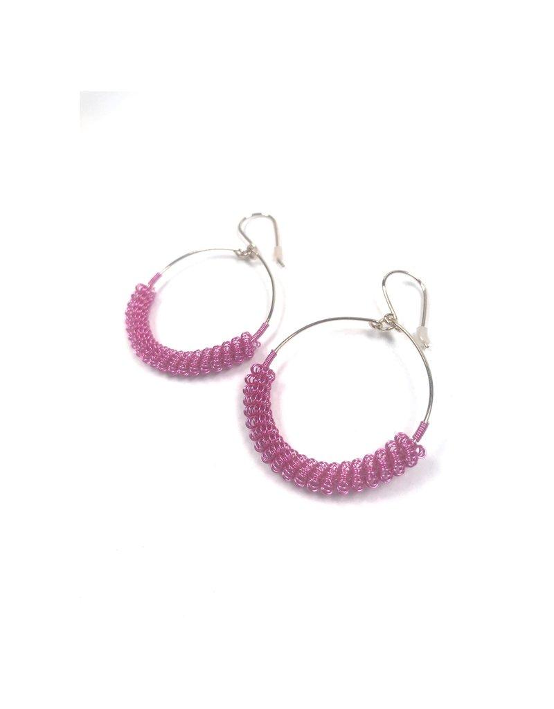 NUA Catkin Hoop Earrings -  Pink and Gold