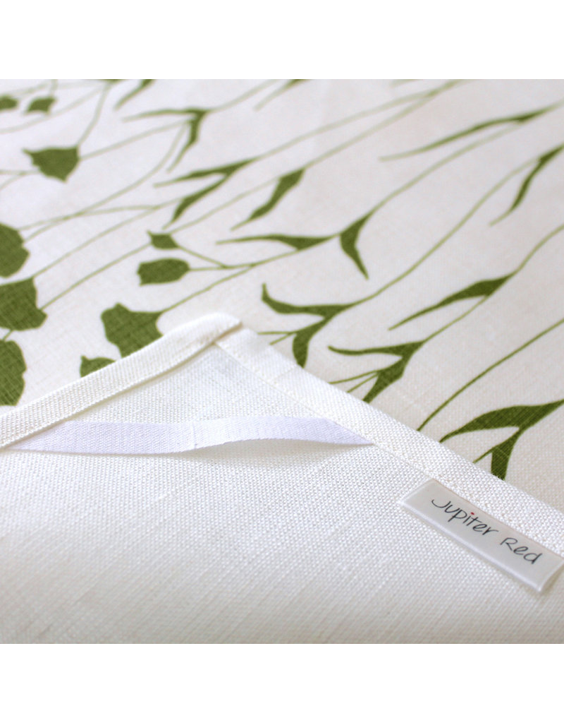Jupiter Red Linen Tea Towel Flax Flower Green