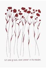 Jupiter Red Linen Tea Towel Flax Flower Red
