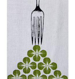 Jupiter Red Linen Tea Towel Sprouts Green